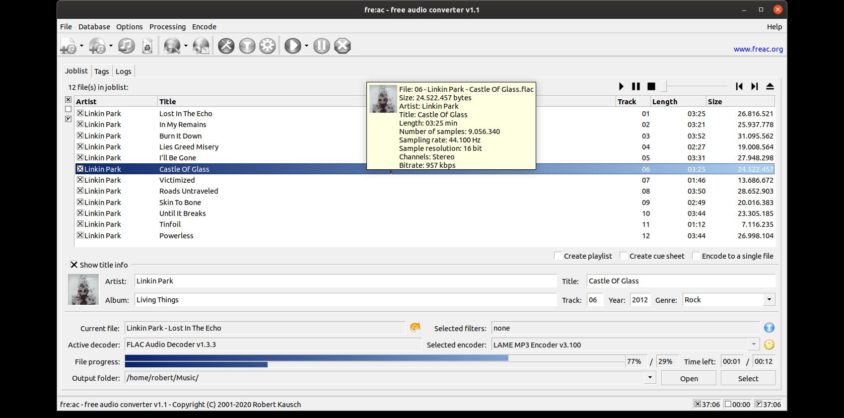 fre:ac on Ubuntu Linux